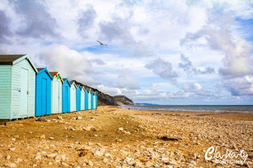 Beach huts at Charmouth beach Dorset