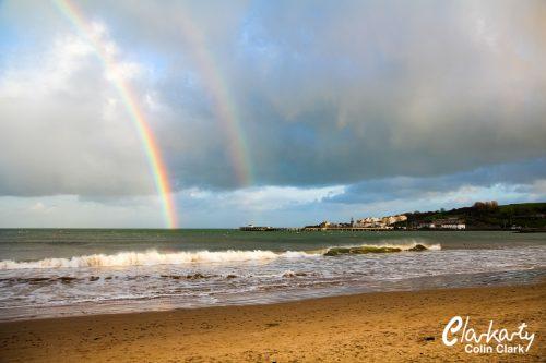 Rainbow over Swanage beach Dorset