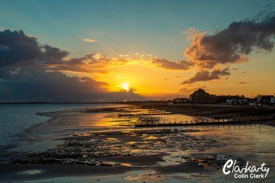 Sun setting over Bognor Regis beach